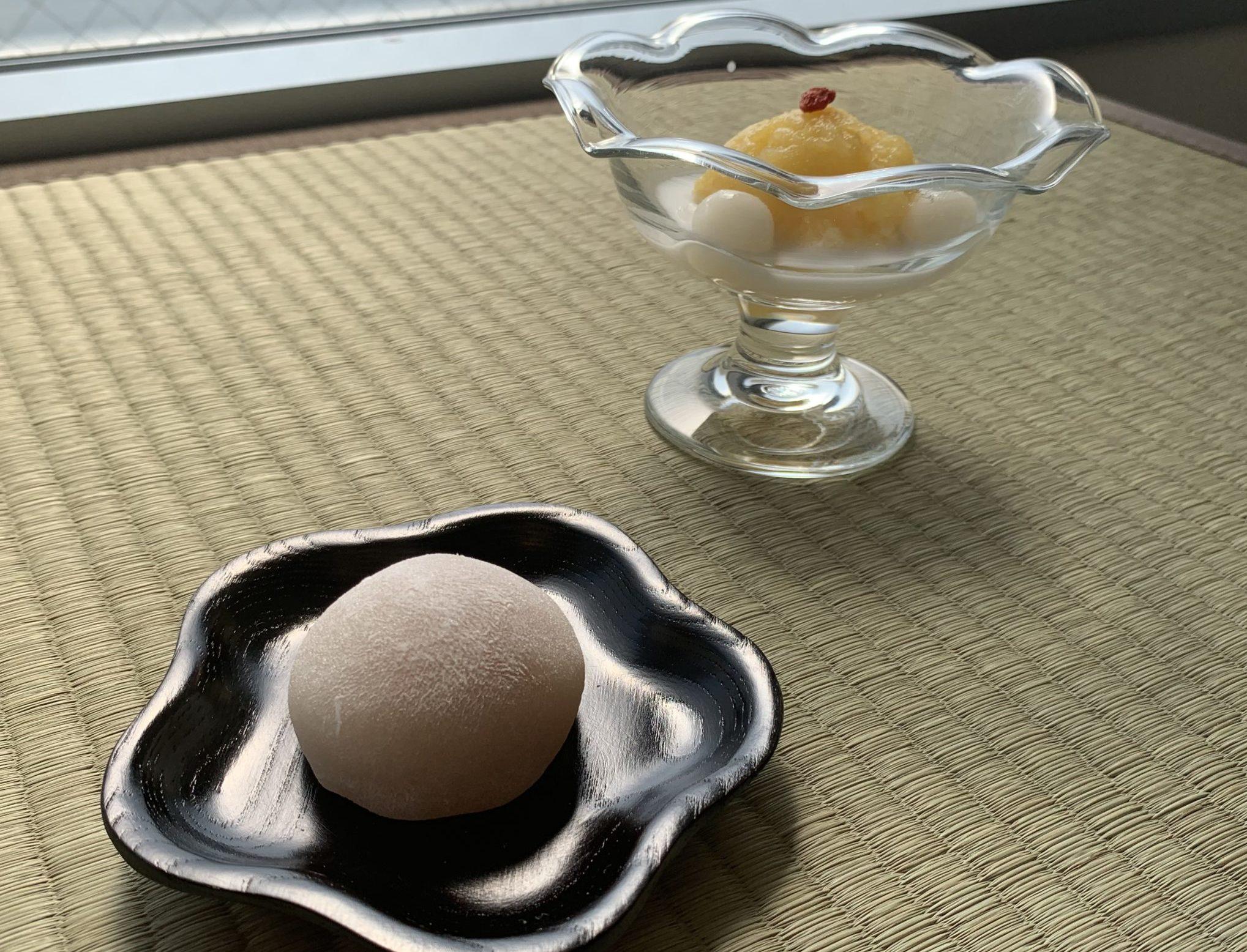 『あんず餅』と『緑豆の冷たいお汁粉』